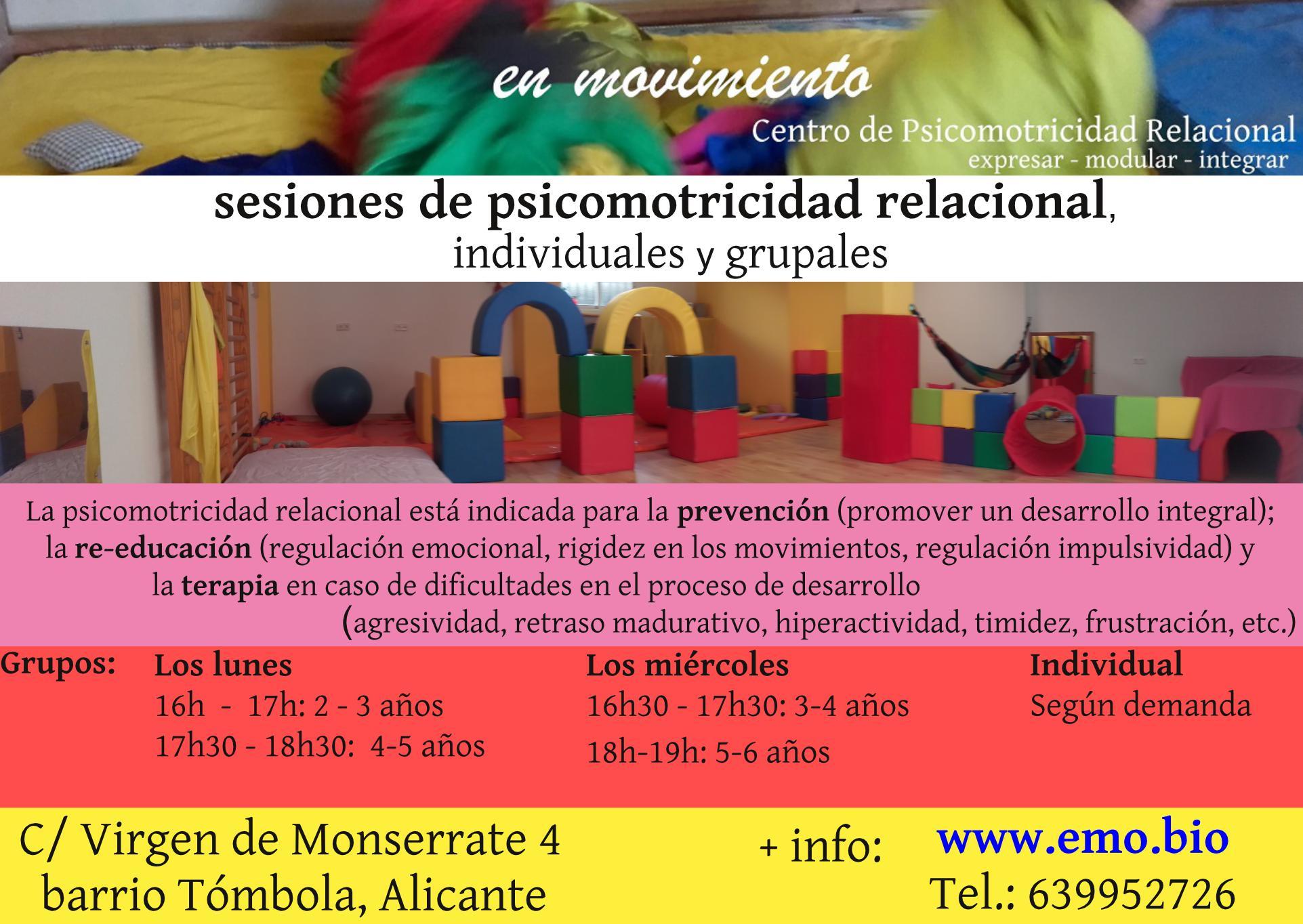 nuevo horario 2021: sesiones de psicomotricidad relacional